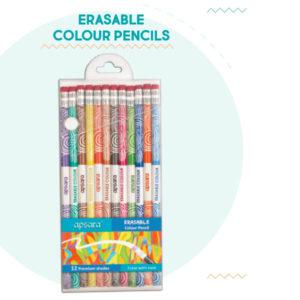 Apsara Erasable Colour Pencils - 12 Erasable Colour Pencils