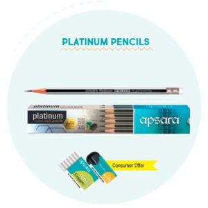 Apsara PLATINUM Pencils (Rubber tipped 10 pc pack)