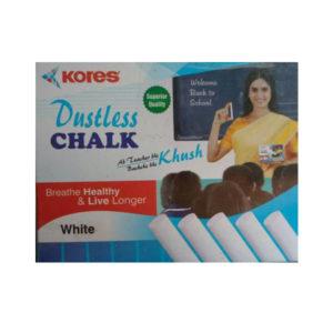 Kores Dustless White Coloured Chalk 12N