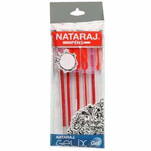 Nataraj Pens- Gelix Gel Pens – pack of 5 pens (Red Colour)