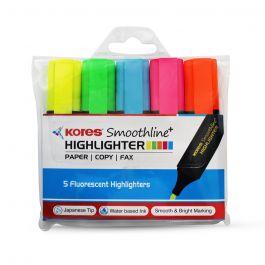 Kores Smoothline 5 Fluorescent Highliters