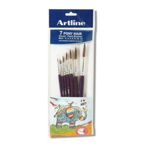 7 Pony Hair Round Paint Brushes Size : 0,2,4,6,8,10,12