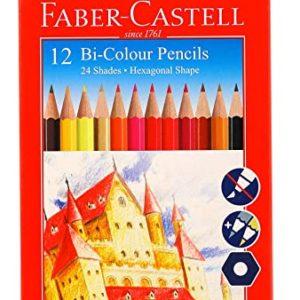 Faber Castell 12 Bi Colour Pencils / 24 Shades / Hexagonal Shape
