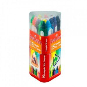 Faber Castell 15 Triangular Wax Crayons